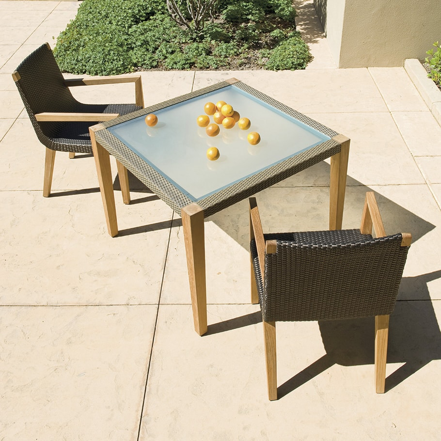 Mesa JANUS et Cie Quinta Teak - Woven Dining Table Square